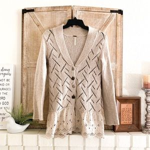 FREE PEOPLE Taupe Knit Button Cardigan With Lace